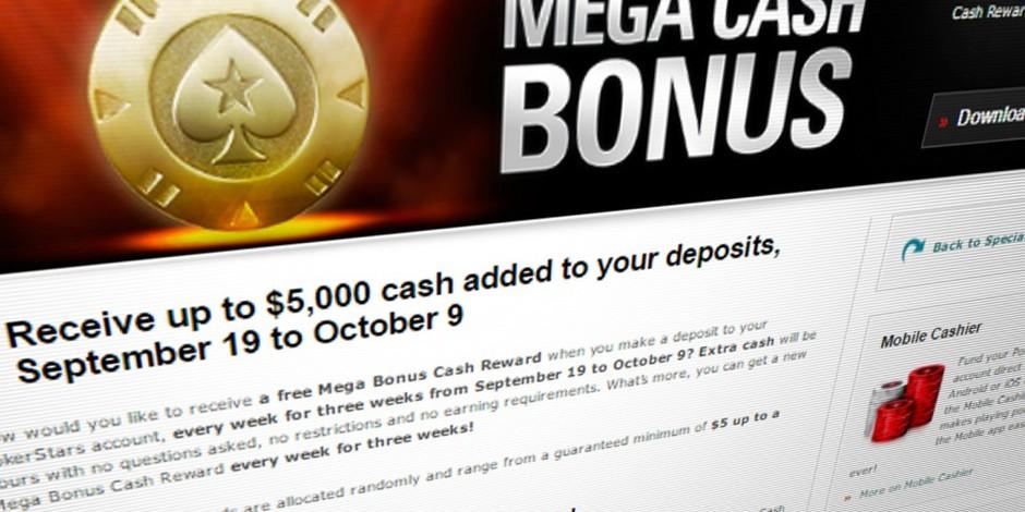 Mega Cash Bonus Pokerstars Nj Offers Reloads With A Twist Poker Industry Pro